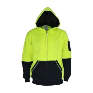Hivis 2 tone full zip super fleecy hoodie