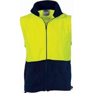 HiVis Two Tone Full Zip Polar Fleece Vest