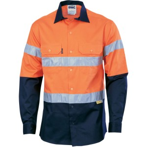 HiVis Two Tone Drill Shirt with 3M 8910 R/Tape - Long Sleeve